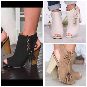 Shoes - Tassel cutout lace up booties